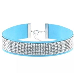 Jewelry - Faux Suede Collar Choker with Rhinestone Band